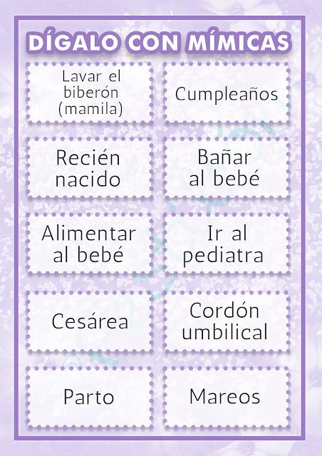 Juegos para baby shower - dígalo con mímicas lila