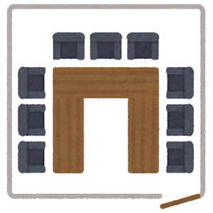 会議室の席のイラスト3(席次)