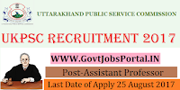 Uttarakhand Public Service Commission Recruitment 2017– 877 Assistant Professor