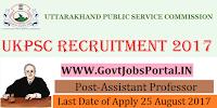 Uttarakhand Public Service Commission Recruitment 2017– 877 Assistant Professor