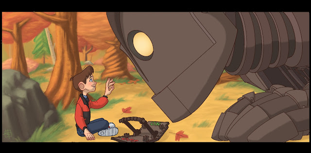 The giant looking closely at Hogarth in The Iron Giant