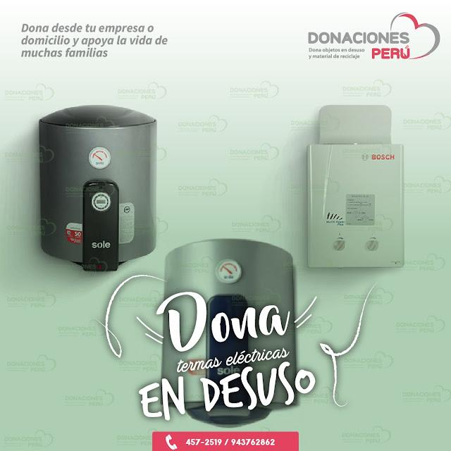 Dona termas eléctricas - Dona y Recicla - Recicla y Dona - Donaciones Perú