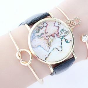 Montre carte du monde pas cher