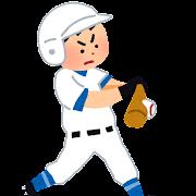 野球のイラスト「バットを振るバッター」