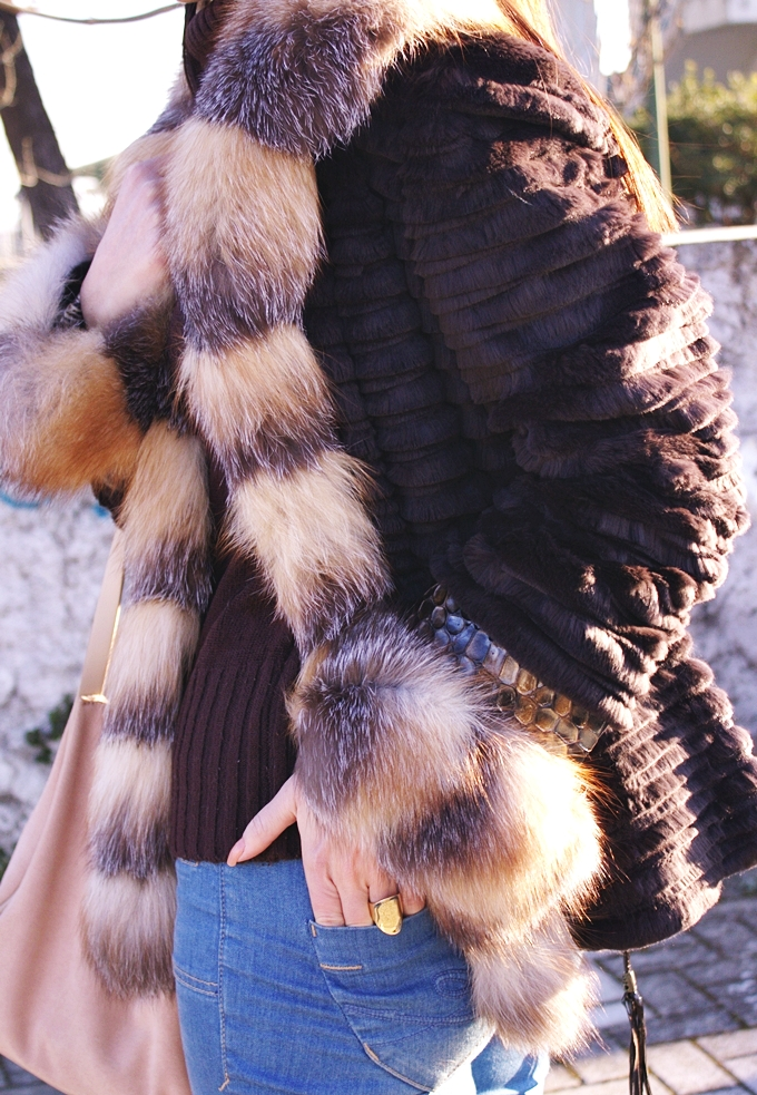 dark rown winter outfits with dark brown fur coat