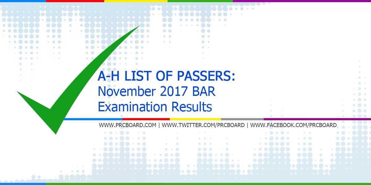 A-H List of Passers: November 2017 Bar Exam Results - PRCBoard com