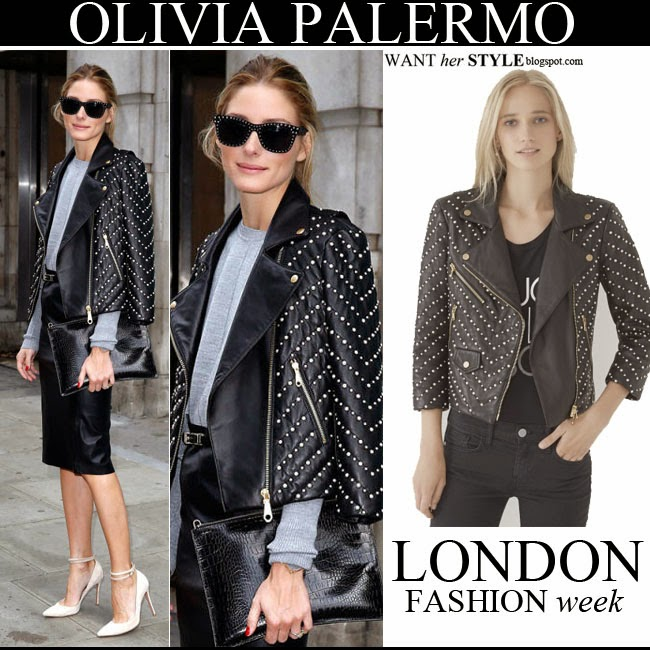 623e9d2301cc Olivia Palermo in black pearl embellished leather jacket by Rebecca  Minkoff