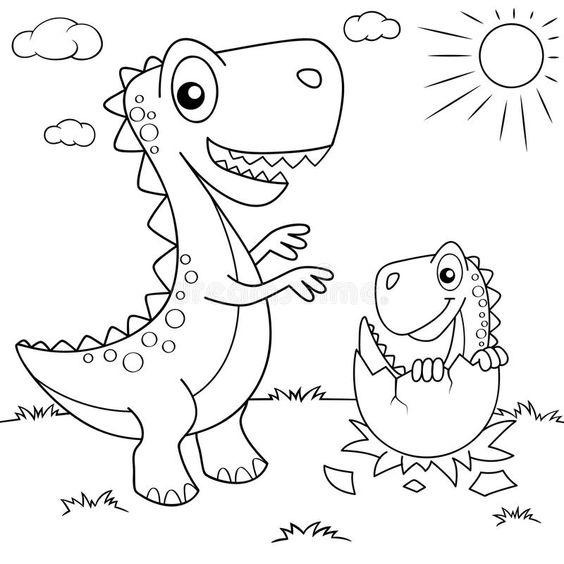 Tranh tô màu khủng long nở dưới mặt trời
