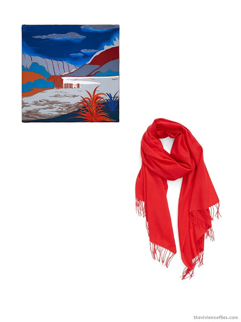 2 classic scarves in red, blue and white