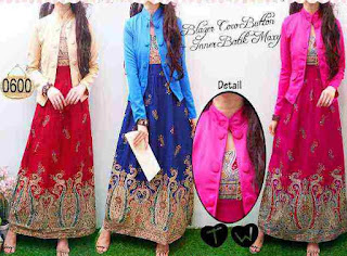 Model Long Dress Batik Kombinasi Blazer pesta