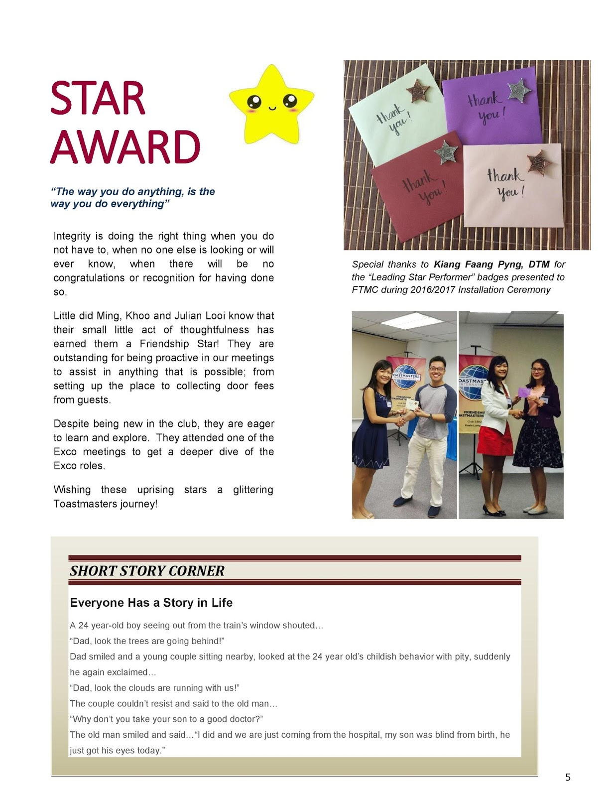 Friendship Toastmasters Club Newsletter Issue 7 2015 2016