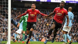 [Goals Highlight] Pogba Scores Twice As Manchester United SHOCK Man City 3-2 At The Etihad In The Premier League (Watch)