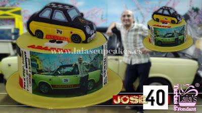 tarta personalizadad fondant impresión comestible seat 134 121 coche abarth josé 40 cumpleaños años laia's cupcakes puerto sagunto