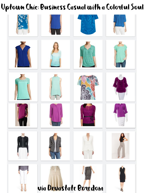 Finally!  A capsule wardrobe I can wear to work.  And turquoise is my favorite color too!  Business Casual Mix-and-Match Capsule Wardrobe Inspiration - Example Minimalist Closet - Uptown Chic with a Colorful Soul! via Devastate Boredom