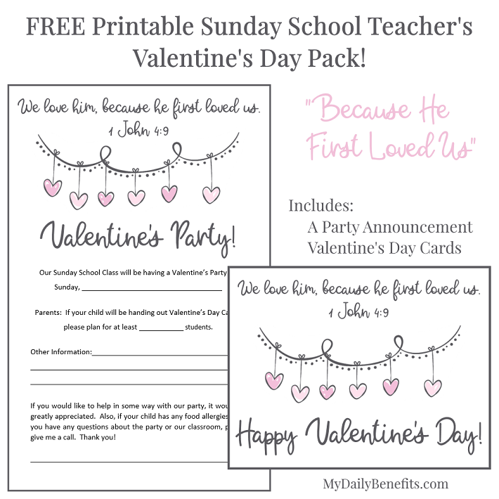 *FREE* Sunday School Teacher's Valentine's Pack!  Printable Party Announcement and Valentine's Cards