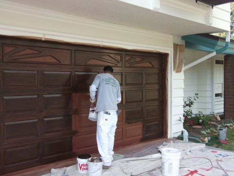 painting garage door before and after #4
