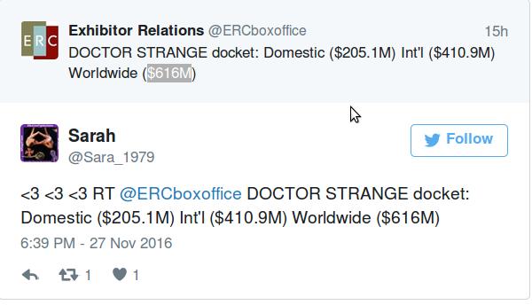Доктор Стрэндж набрал $616M по миру