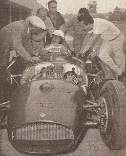 Farina in practice at Monza in 1955