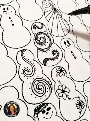 Christmas and Winter Themed Doodle and Coloring Pages
