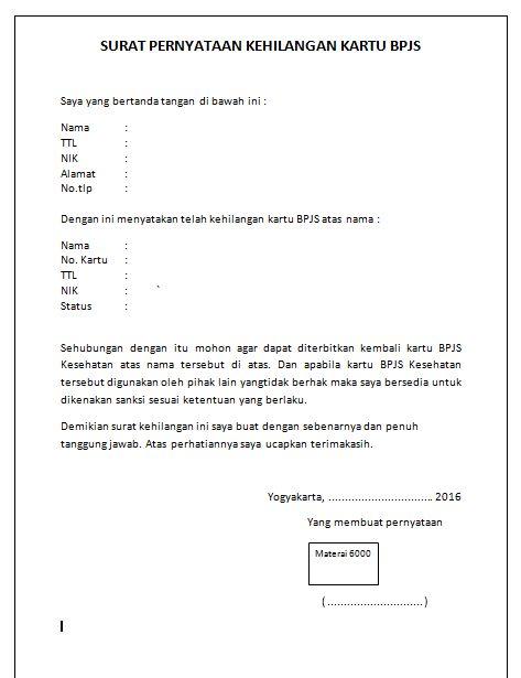 Contoh Surat Pernyataan Kehilangan  Gambar Con