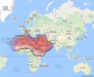 Footprint Satelit Arabsat 5A 30.5°E KUBand