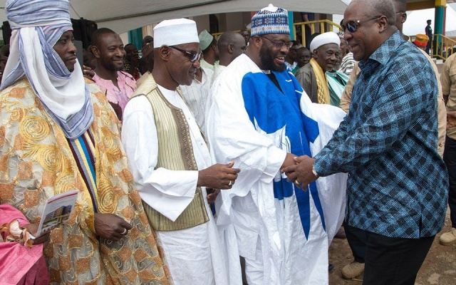 President John Dramani Mahama with members of the Muslim Community.