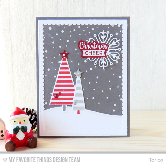 Handmade card from Torico featuring Gift Tag Greetings stamp set , Oh Christmas Trees stamp set and Die-namics, Snowfall Background stamp, Stylish Snowflakes, Stitched Snow Drifts, Stitched Rectangle Scallop Frames, and Blueprints 24 Die-namics #mftstamps