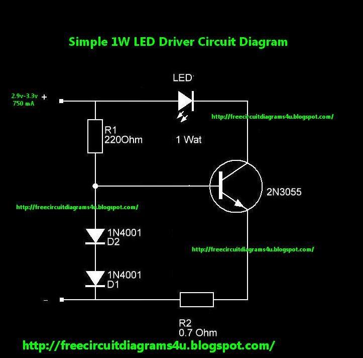 FREE CIRCUIT DIAGRAMS 4U: 1W LED Driver Circuit Diagram