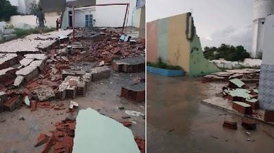 إنهيار جدار مدرسة ابتدائية بالقلعة الكبرى بسبب الأمطار (صور)