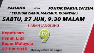 result Liga Super Malaysia 27 Jun 2015