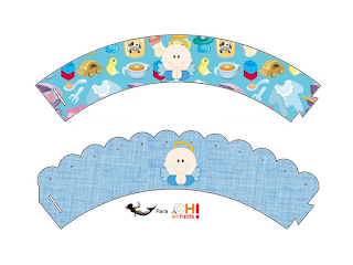 Angel Boy Free Printable Cupcake Wrappers.