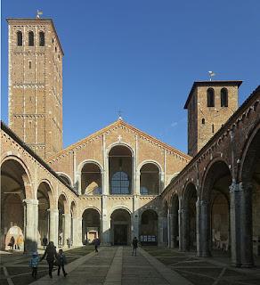 The atrium of the Basilica di Sant'Ambrogio in Milan, where Cesare Maldini's funeral took place