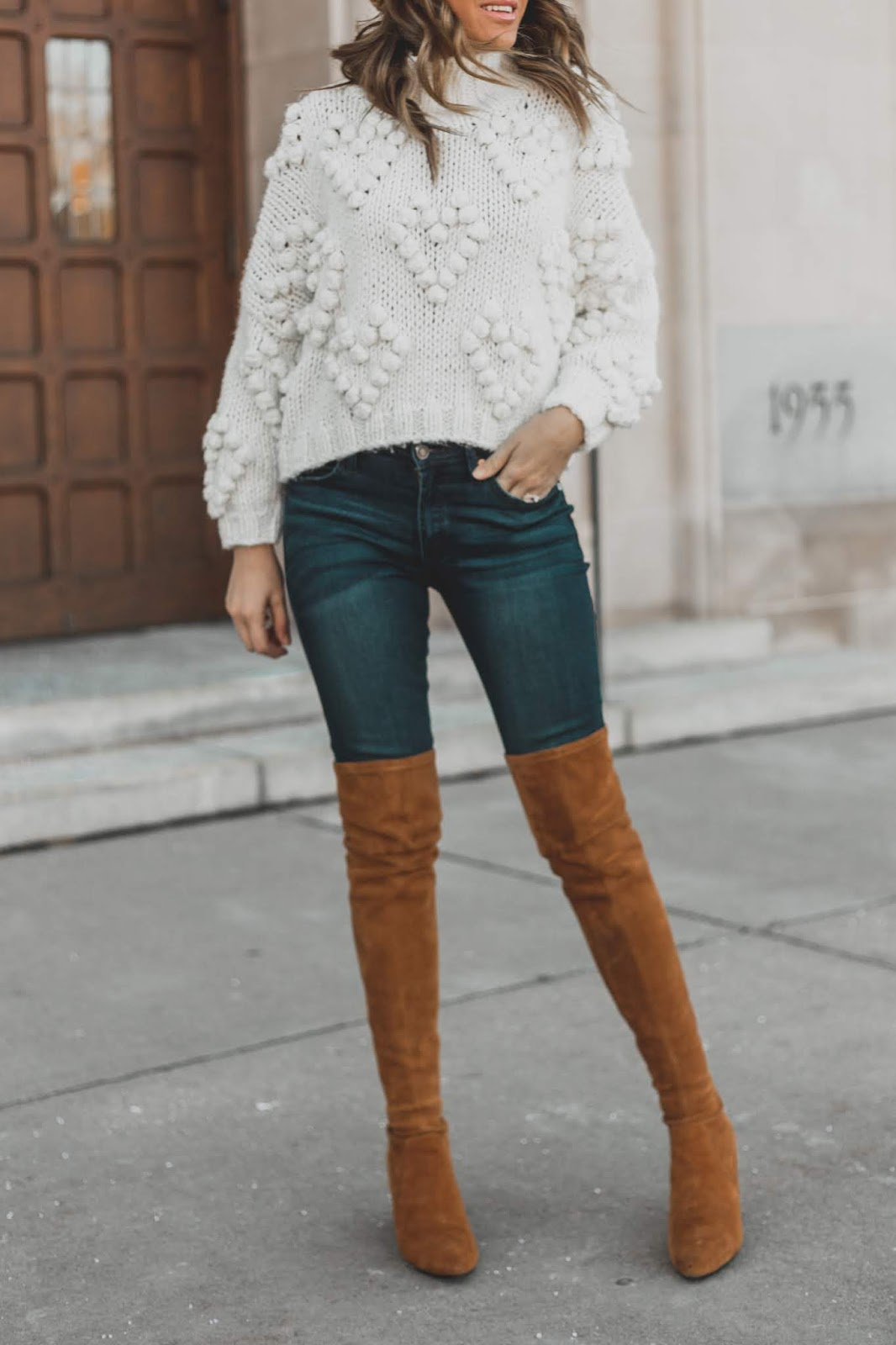 White Pom Sweater With Jeans And OTK Boots