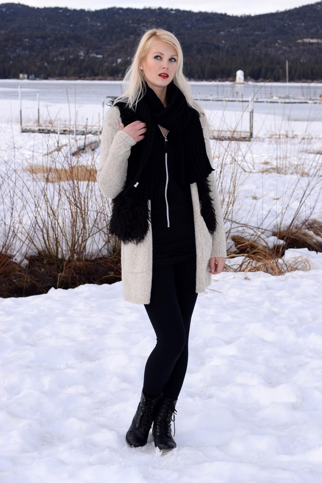 big bear, how to layer, layering , master the art of layering, cardigan, winter, scarf, black and black