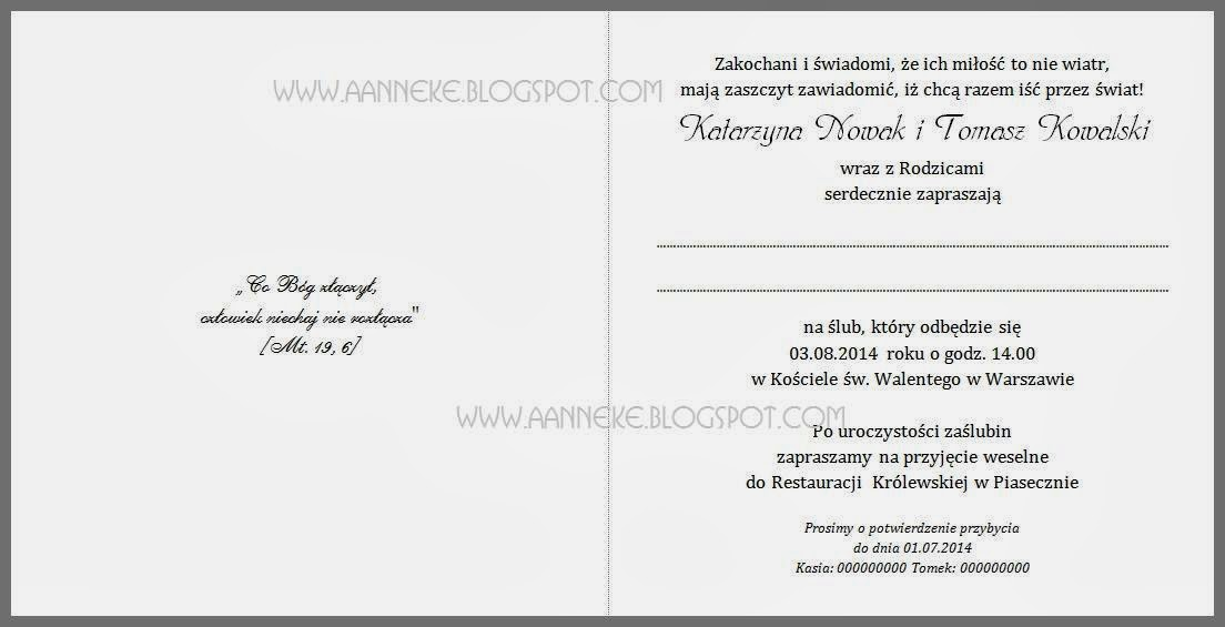 Aanneke Handmade Projekt Kropki Zaproszenia Na ślub