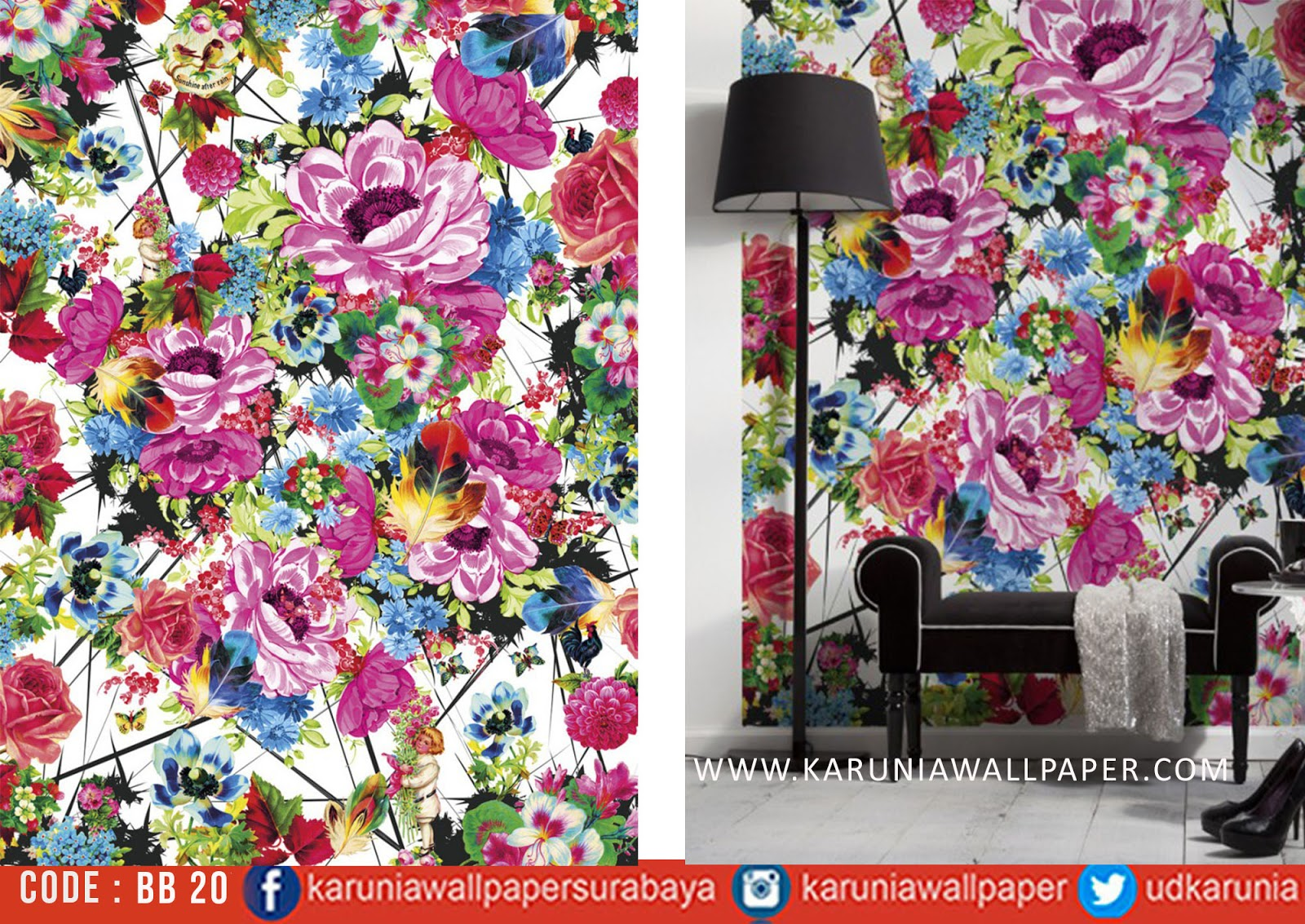 jual wallpaper dinding bunga cantik