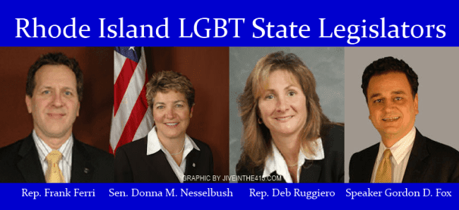 Rhode Island LGBT elected state legislators Ferri, Nesselbush, Ruggiero and Fox