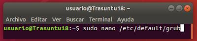 sudo nano /etc/default/grub
