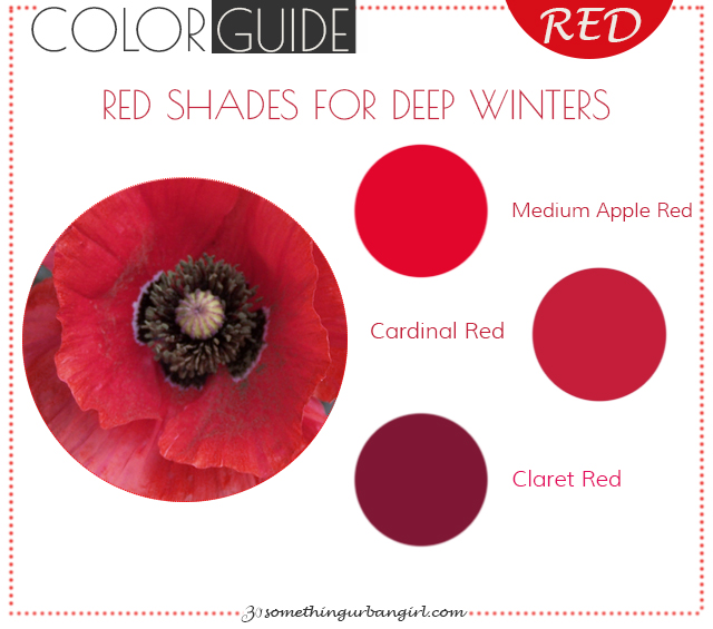 The best red color shades for Deep Winter seasonal color women
