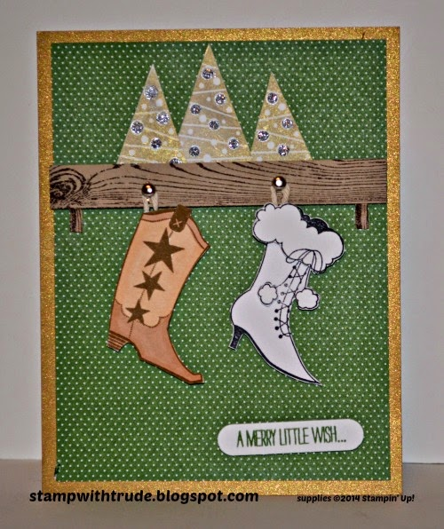 Bootiful Occasions, Festival of Trees, Trude Thoman, stampwithtrude.blogspot.com , Stampin' Up!, Christmas card, boots, cowboy