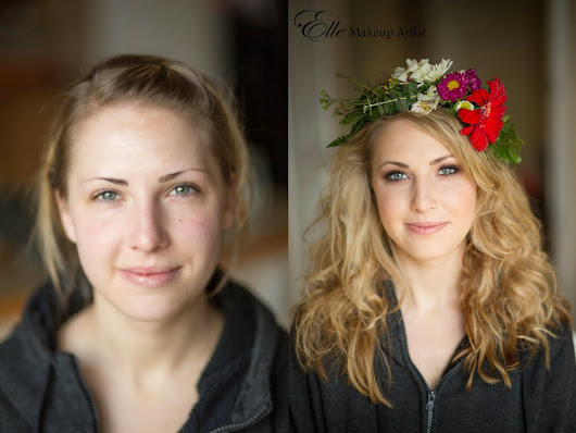 Before and After - Makeup for a Woodsy-Bohemian Styled Photo Shoot - Makeup for Blue Eyes - Floral Headband