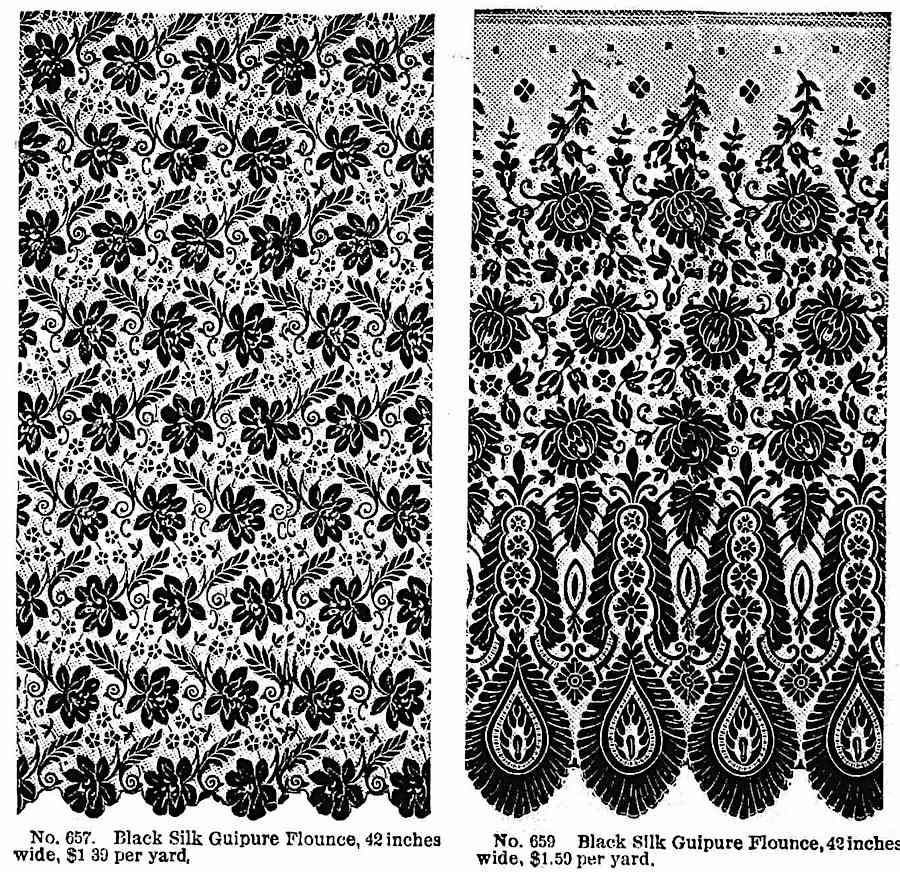 1890 black silk window curtain sheers