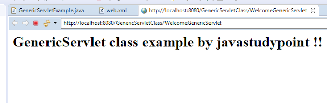 GenericServlet class in Servlet with Example