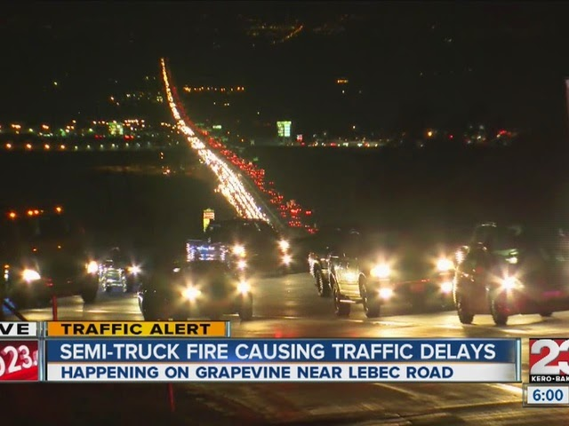 kern county two big rigs crash interstate 5 grapevine lebec road