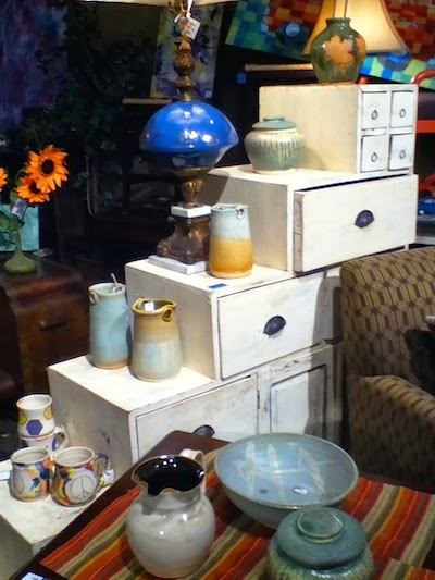 Display of Lori Buff's Pottery at Kaboodle Home in East Atlanta Village
