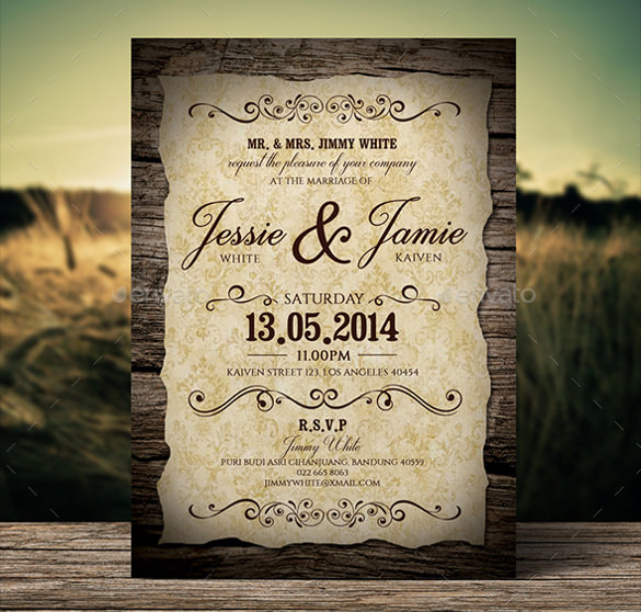 Charmant Wedding Invitation Vintage Style
