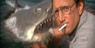Jaws (1975) - the shark surfaces