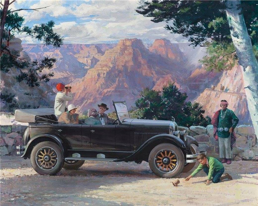 Cuadros modernos pinturas y dibujos paisajes con carros Micheal motors