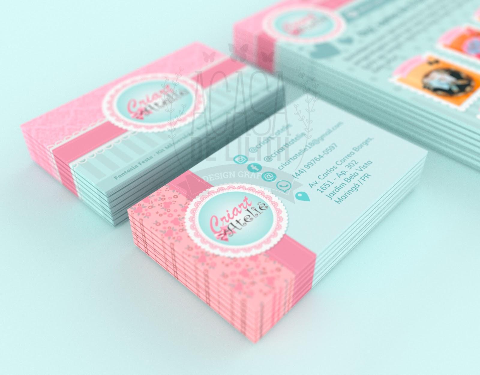 Papelaria Personalizada - Cartão de Visita e Flyer/Panfleto - para Ateliê / Loja Infantil Criart Ateliê - Rosa Bebê e Azul Tiffany