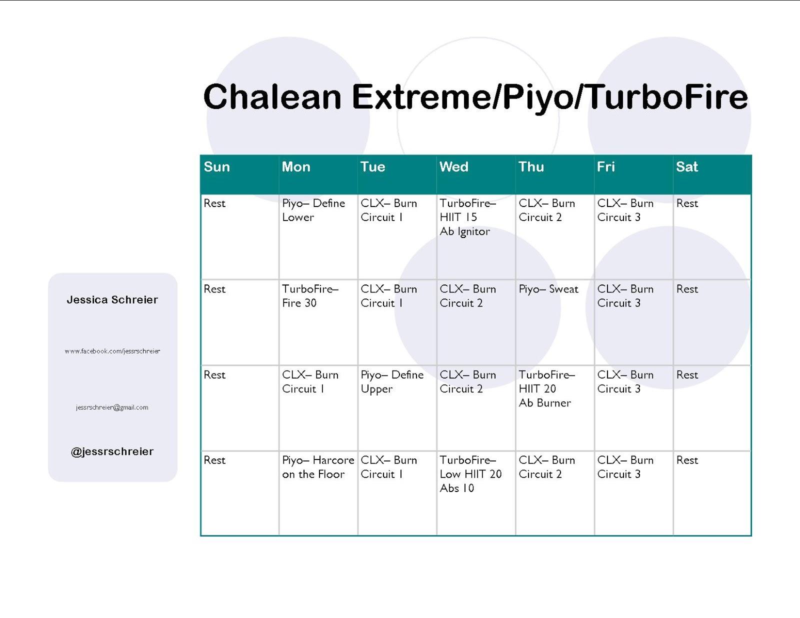 Chalean Extreme Turbofire Hybrid Schedule